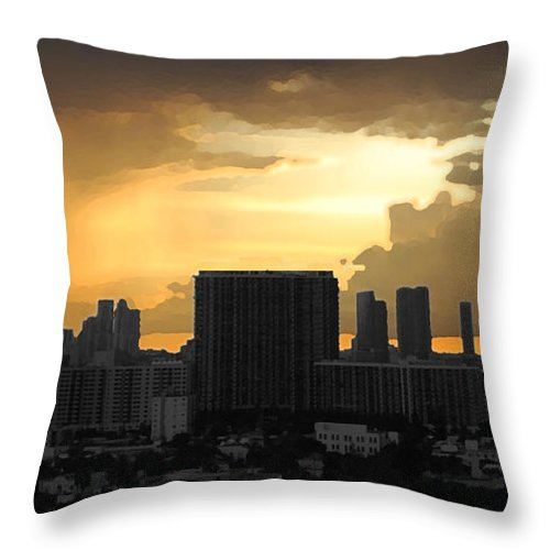 Landscape Throw Pillow featuring the photograph Miami by Joseph Mari
