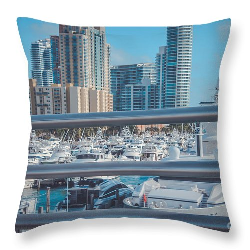 Florida Throw Pillow featuring the photograph Miami Marina by Claudia M Photography