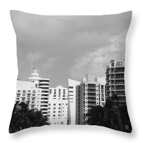 Black And White Throw Pillow featuring the photograph Miami Sky by Rob Hans