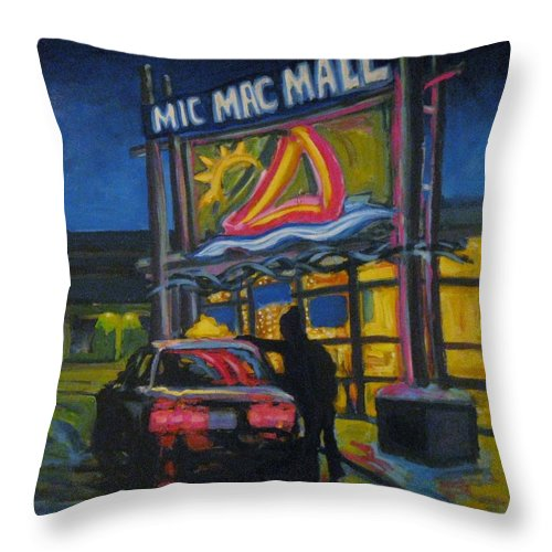Retail Throw Pillow featuring the painting Mic Mac Mall Spectre Of The Next Great Depression by John Malone