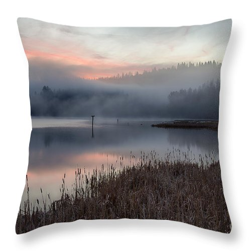 Coeur D'alene Throw Pillow featuring the photograph Mica Mists by Idaho Scenic Images Linda Lantzy