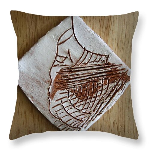 Jesus Throw Pillow featuring the ceramic art Micah - Tile by Gloria Ssali