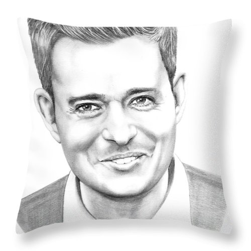 Pencil Throw Pillow featuring the drawing Michael Buble' by Murphy Elliott
