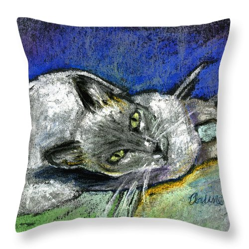 Cat Throw Pillow featuring the pastel Michael Campbell by Suzanne Blender