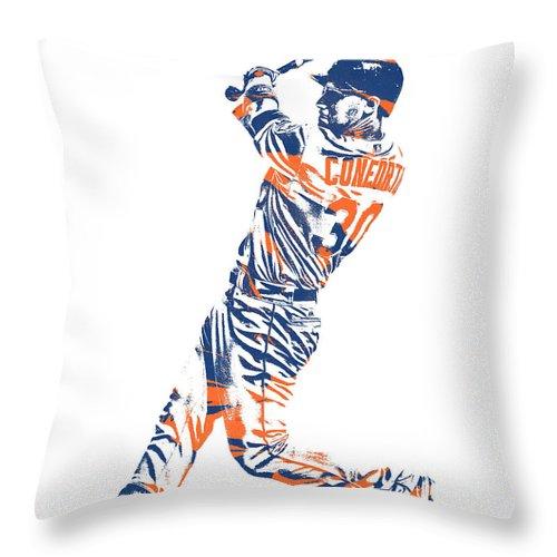 Michael Conforto Throw Pillow featuring the mixed media Michael Conforto New York Mets Pixel Art 1 by Joe Hamilton