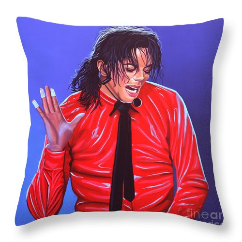 Michael Jackson Throw Pillow featuring the painting Michael Jackson 2 by Paul Meijering