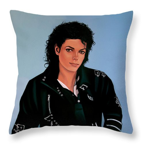 Michael Jackson Throw Pillow featuring the painting Michael Jackson Bad by Paul Meijering