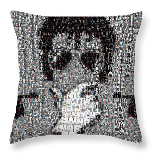 Michael Jackson Throw Pillow featuring the mixed media Michael Jackson Glove Montage by Paul Van Scott