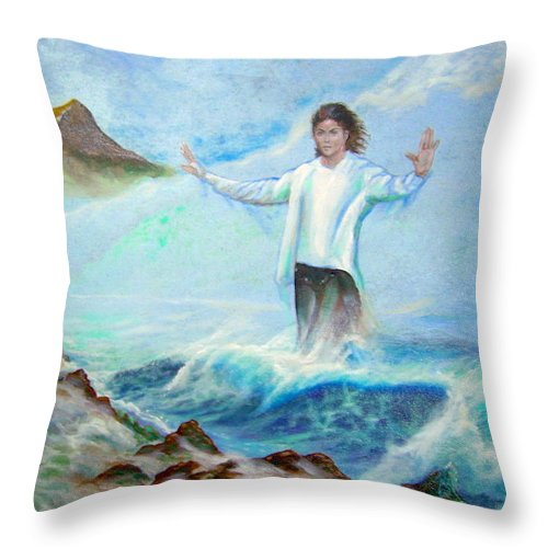 Michael Jackson In Hawaii Throw Pillow featuring the painting Michael Jackson In Hawaii by Leland Castro