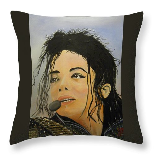 Michael Jackson Throw Pillow featuring the painting Michael Jackson by Joseph Papale