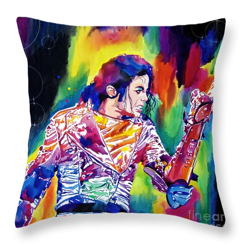 Michael Jackson Throw Pillow featuring the painting Michael Jackson Showstopper by David Lloyd Glover