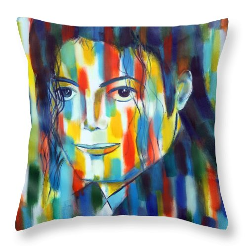 Micahel Jacson The King Of Pop Color Abstractexpressiopnism Tribute To The King Of Pop Throw Pillow featuring the painting Michael Jackson The Man In Color by Habib Ayat