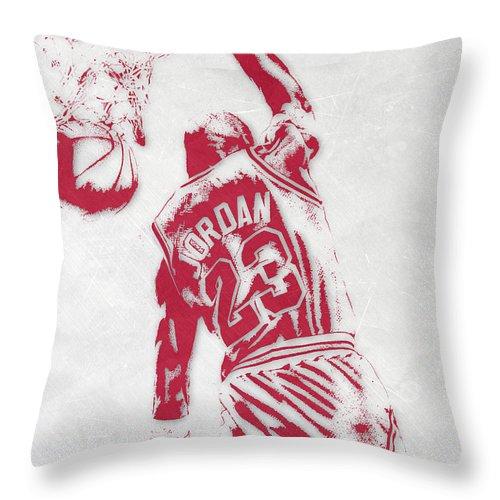 Michael Jordan Throw Pillow featuring the mixed media Michael Jordan Chicago Bulls Pixel Art 1 by Joe Hamilton