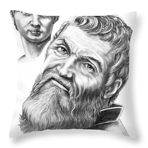Michelangelo Throw Pillow featuring the drawing Michelangelo And David by Murphy Elliott