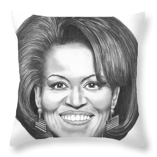 Drawing Throw Pillow featuring the drawing Michelle Obama by Murphy Elliott
