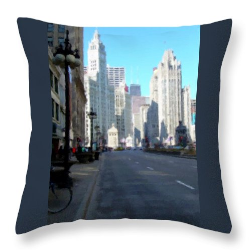Chicago Throw Pillow featuring the digital art Michigan Ave Tall by Anita Burgermeister
