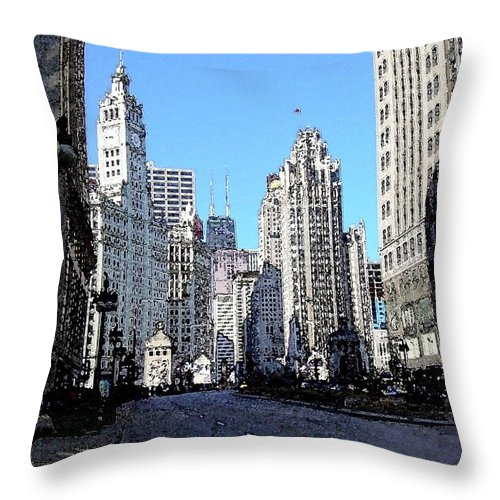 Chicago Throw Pillow featuring the digital art Michigan Ave Wide by Anita Burgermeister