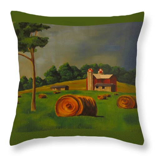 Farm Throw Pillow featuring the painting Michigan Farm by Heather Bolliger