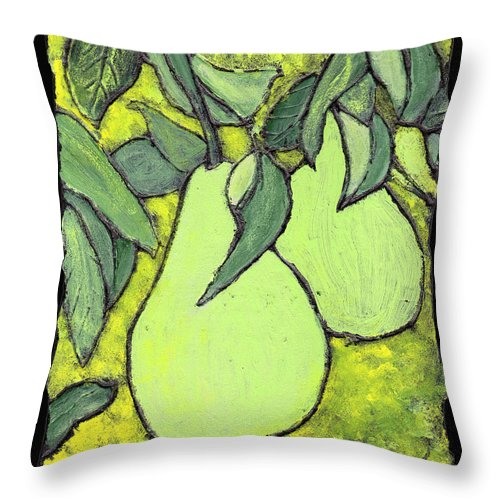 Pears Throw Pillow featuring the painting Michigan Pears by Wayne Potrafka