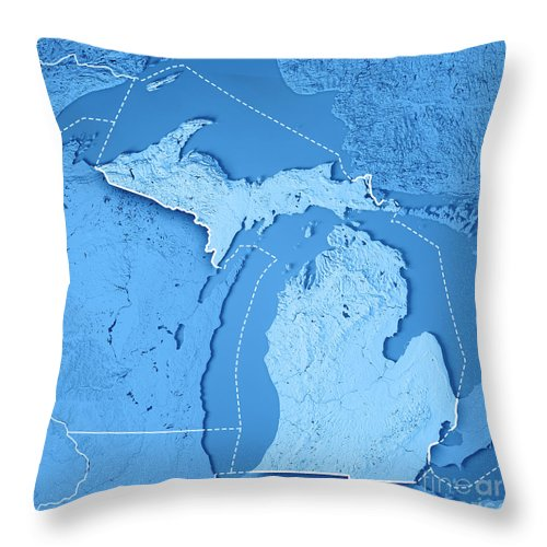 Michigan State Usa 3d Render Topographic Map Blue Border Throw