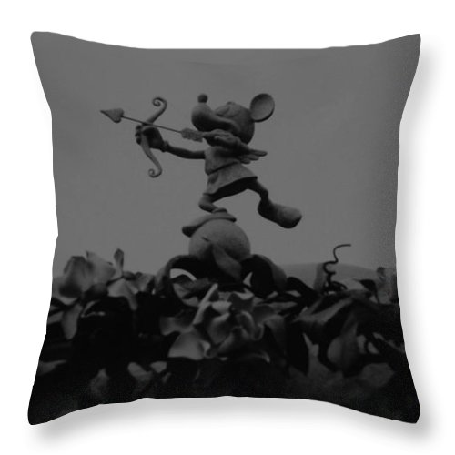 Black And White Throw Pillow featuring the photograph Mickey Mouse In Black And White by Rob Hans