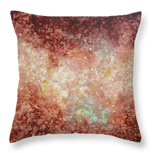Large Abstract Throw Pillow featuring the painting Microcosm by Jaison Cianelli