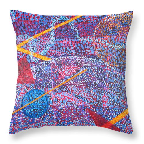 Abstract Throw Pillow featuring the painting Microcosm XV by Rollin Kocsis