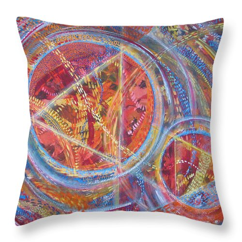 Geometric Throw Pillow featuring the painting Microcosm XVI by Rollin Kocsis