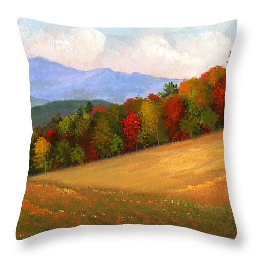 Landscape Throw Pillow featuring the painting Mid Autumn by Frank Wilson
