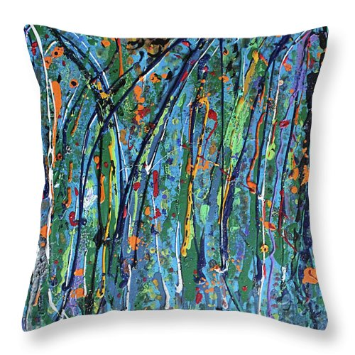 Bright Throw Pillow featuring the painting Mid-Summer Night's Dream by Pam Roth O'Mara