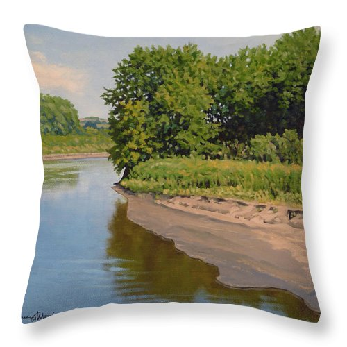 Summer Landscape Throw Pillow featuring the painting Mid Summer Prairie Stream by Bruce Morrison