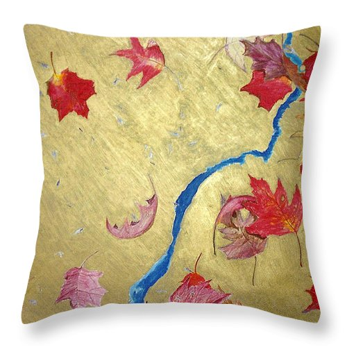 Abstract Throw Pillow featuring the painting Midas Fall by Steve Karol