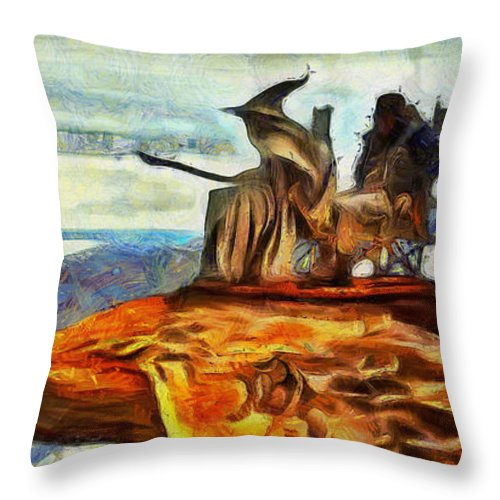 Middle Earth Throw Pillow featuring the digital art Middle Earth Airliner 2 - Da by Leonardo Digenio
