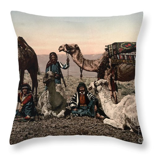 1890s Throw Pillow featuring the photograph Middle East: Travelers by Granger