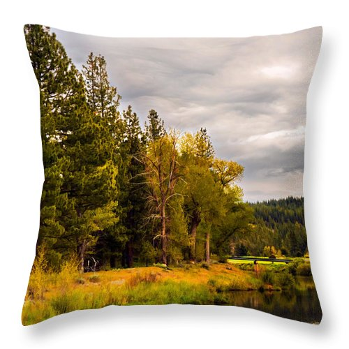 Feather River Throw Pillow featuring the photograph Middle Fork by Mick Burkey