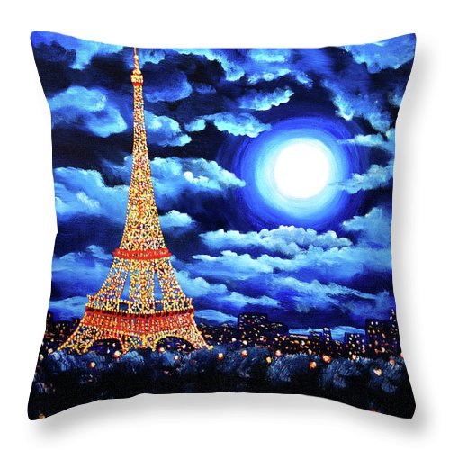 Eiffel Tower Throw Pillow featuring the painting Midnight In Paris by Laura Iverson