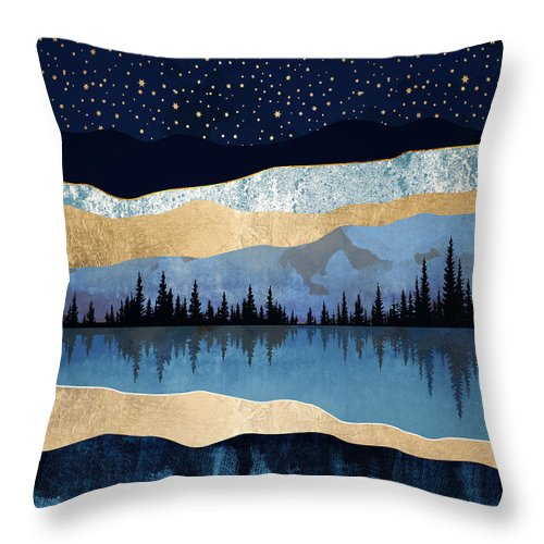 Midnight Throw Pillow featuring the digital art Midnight Lake by Spacefrog Designs