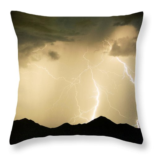 Arizona Lightning Storms Throw Pillow featuring the photograph Midnight Lightning Storm by James BO Insogna