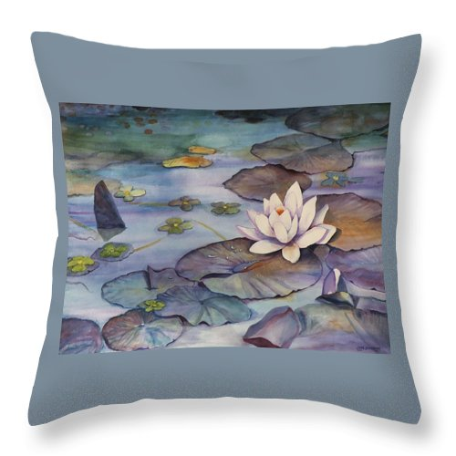 Lily Throw Pillow featuring the painting Midnight Lily by Jun Jamosmos
