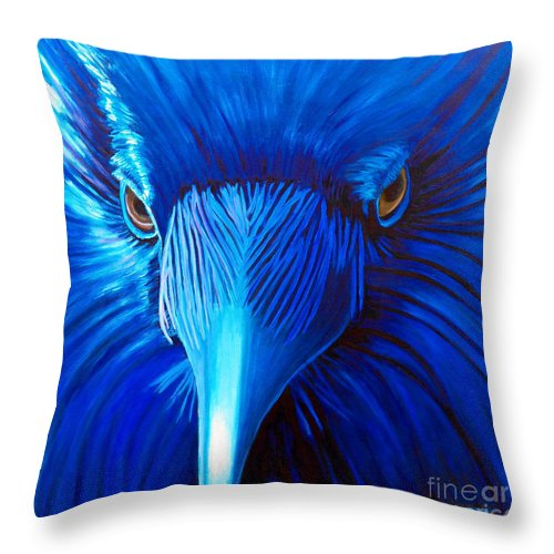 Raven Throw Pillow featuring the painting Midnight Magic by Brian Commerford