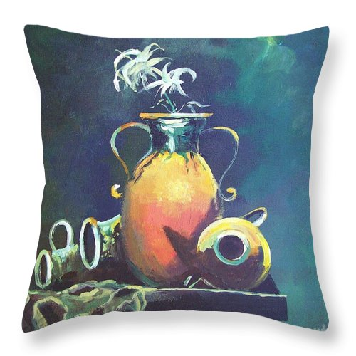 Still Life Throw Pillow featuring the painting Midnight Moon by Sinisa Saratlic