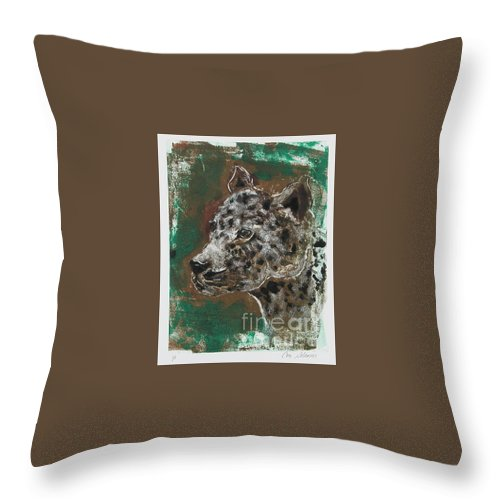 Monotype Throw Pillow featuring the mixed media Midnight Prowler by Cori Solomon