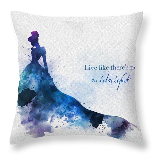 Cinderella Throw Pillow featuring the mixed media Midnight by My Inspiration