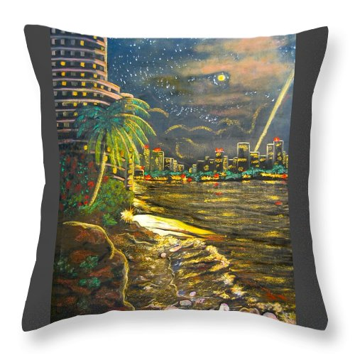 City Lights Throw Pillow featuring the painting Midnight Sun by V Boge