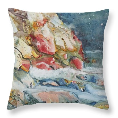 Abstract Throw Pillow featuring the painting Midnight Surf by Ruth Kamenev