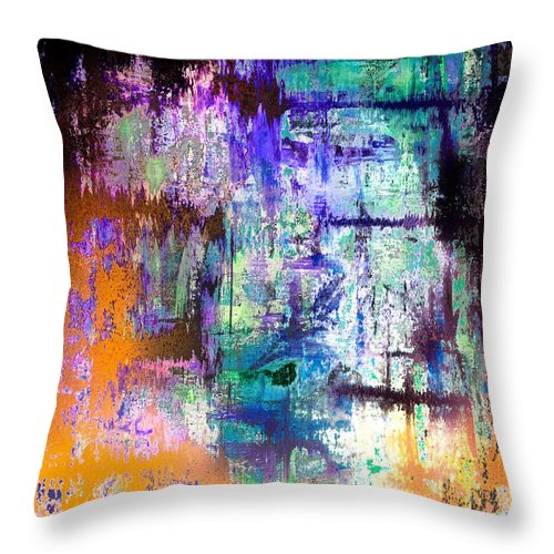 Midnight Train Goin Anywhere Throw Pillow featuring the mixed media Midnight Train Goin Anywhere by Wayne Cantrell