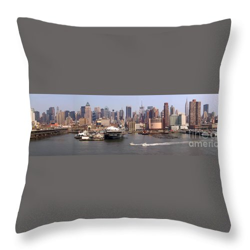 Manhattan Throw Pillow featuring the photograph Midtown Manhattan Panorama by Thomas Marchessault