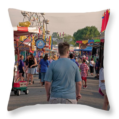 Fair Throw Pillow featuring the photograph Midway by Paulette B Wright