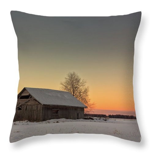 Copy Space Throw Pillow featuring the photograph Midwinter Sunset On The Fields by Jukka Heinovirta