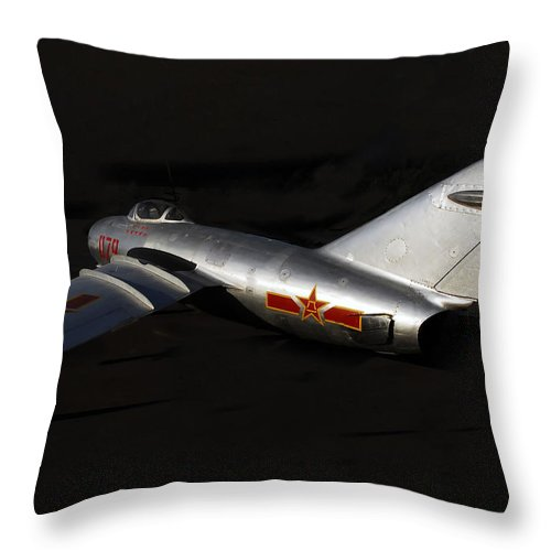 Mig Fighter Jet Throw Pillow featuring the photograph MiG by David Lee Thompson